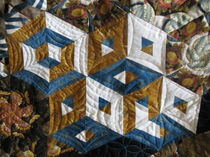 Jennie quilt boxes blue gold