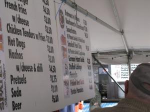 menu at germanfest