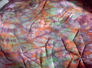 the back of the quilt John Cardin dyed fabric