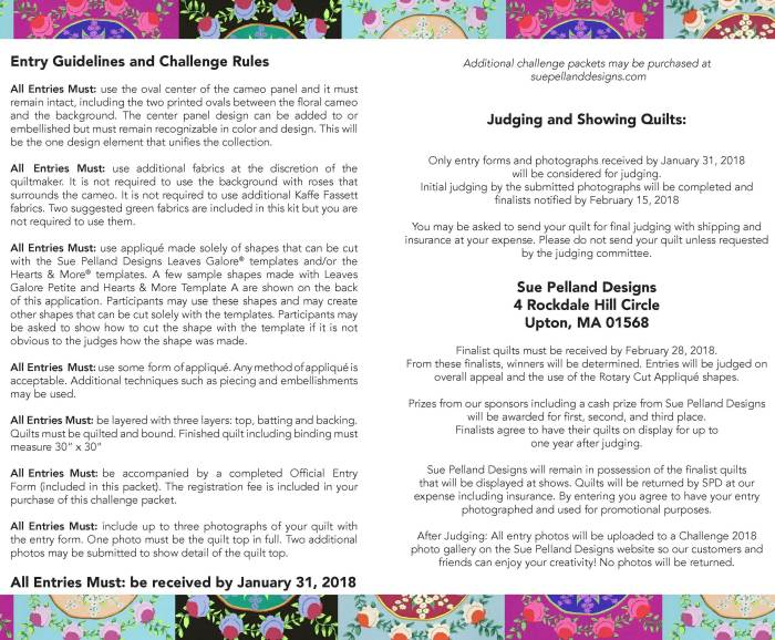 Rules for Challenge Quilts